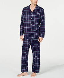 Men's Navy Plaid Flannel Pajamas, Created for Macy's