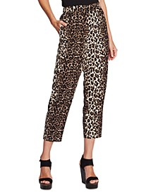 Cropped Leopard-Print Pants