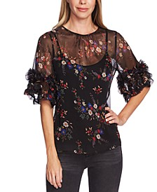 Country Bouquet Printed Ruffed-Sleeve Blouse