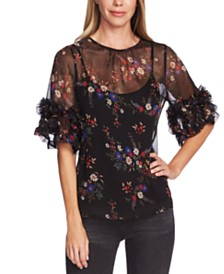 Vince Camuto Country Bouquet Printed Ruffed-Sleeve Blouse