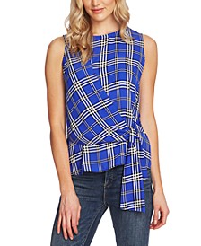 Highland Plaid Assymetrical Sleeeless Blouse