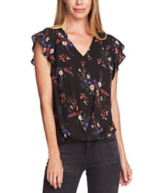 Vince Camuto Country Bouquet Printed Flutter-Sleeve Blouse