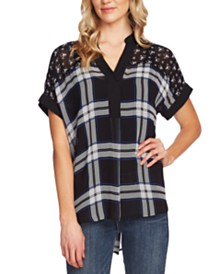 Vince Camuto Mixed-Print Dolman-Sleeve Henley Top