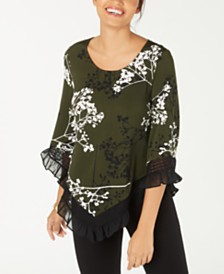 Alfani Petite Floral-Print Lace-Trim Top, Created for Macy's