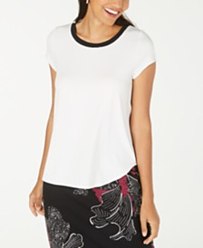 Alfani Sweater-Trim T-Shirt, Created for Macy's