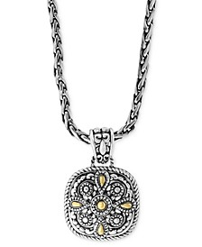 "EFFY® Filigree Square Disc 18"" Pendant Necklace in Sterling Silver & 18k Gold"