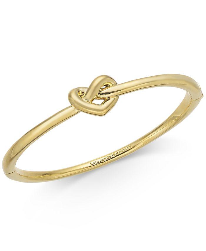 kate spade new york - Gold-Tone, Silver-Tone or Rose-Gold Tone Love Me Knot Bangle Bracelet