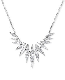 """Diamond Spike 18"""" Statement Necklace (5/8 ct. t.w.) in 14k White Gold"""