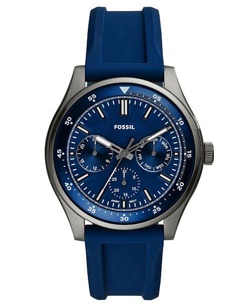 Fossil Men's Belmar Blue Silicone Strap Watch 44mm