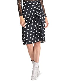 Juniors' Susanna Gathered Polka Dot Midi Skirt