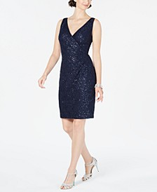 Lace & Sequin Faux-Wrap Sheath Dress