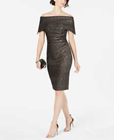 Vince Camuto Off-The-Shoulder Metallic Dress