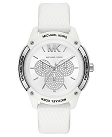 Michael Kors Women's Ryder White Silicone Strap Watch 44mm