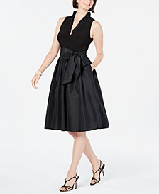 Ruffled-Collar Fit & Flare Dress