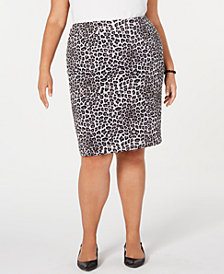 Kasper Plus Size Leopard-Print Pencil Skirt