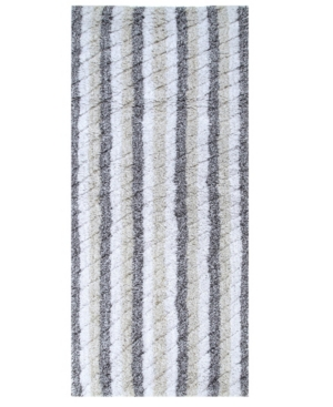 "Image of Affinity Linens Oversized Stripe Cotton Textured 22"" x 60"" Bath Rug Bedding"
