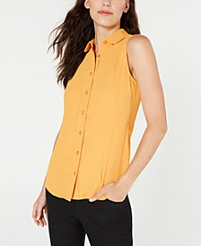 Peter Pan-Collar Sleeveless Blouse