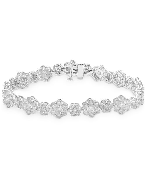 Macy's Diamond Flower Cluster Link Bracelet (10 ct. t.w.) in 14k White Gold