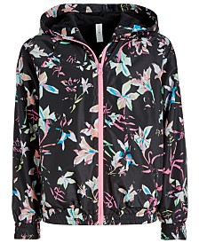 Ideology Big Girls Floral-Print Hooded Windbreaker Jacket, Created for Macy's