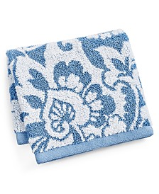 "Charter Club Elite Scroll Paisley Cotton 13"" x 13"" Wash Towel, Created for Macy's"
