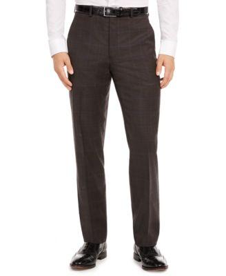 Men's Classic-Fit UltraFlex Stretch Brown/Blue Windowpane Suit Separate Pants
