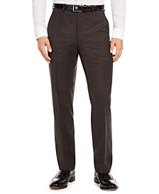 Lauren Ralph Lauren Men's Classic-Fit UltraFlex Stretch Brown/Blue Windowpane Suit Separate Pants