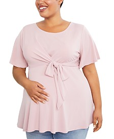 Motherhood Maternity Plus Size Tie-Front Top