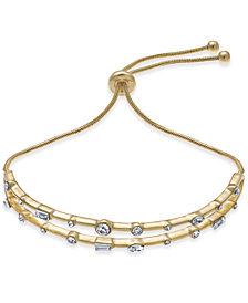 INC Gold-Tone Crystal Double-Row Slider Bracelet, Created for Macy's