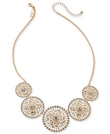 """I.N.C. Rose-Gold Tone Crystal Circle Statement Necklace, 18"""" + 3"""" Extender, Created for Macy's"""