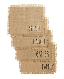 Farmhouse Living Sentiments Burlap Placemats - Set of 4