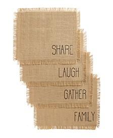 Farmhouse Living Sentiments Burlap Placemats - Set of 4