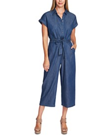 Vince Camuto Cotton Cropped Denim Jumpsuit