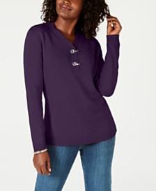 Karen Scott Hardware V-Neck Cotton Sweater, Created for Macy's