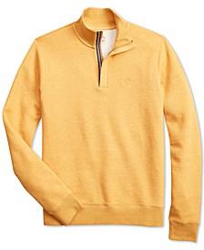 Brooks Brother's Men's Red Fleece Knit Quarter-Zip Sweater