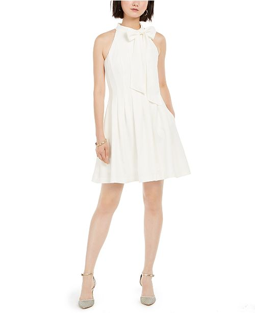 Vince Camuto Bow-Neck Fit & Flare Dress