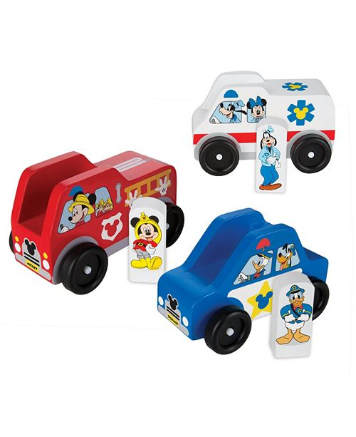 Melissa and Doug Mickey Mouse Wooden Rescue Vehicle Set