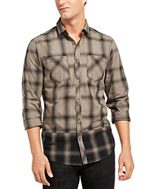 INC Men's Pieced Plaid Shirt, Created for Macy's