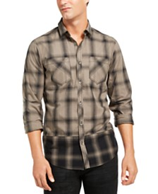 I.N.C. Men's Pieced Plaid Shirt, Created for Macy's