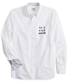 Brooks Brother's Men's Red Fleece Oxford Print Shirt