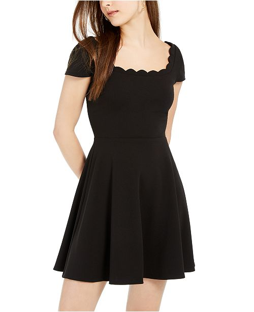 B Darlin Juniors' Scalloped Skater Dress, Created for Macy's