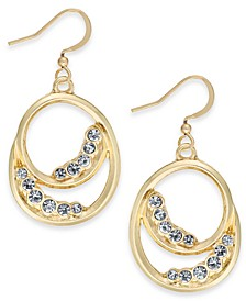 Charter Club Gold-Tone Pavé Double Circle Drop Earrings, Created for