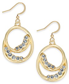 Charter Club Gold-Tone Pavé Double Circle Drop Earrings, Created for Macy's