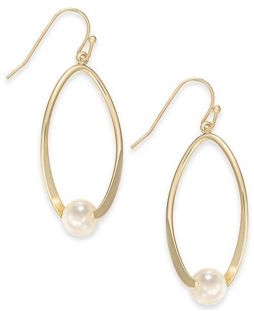 Charter Club Gold-Tone Imitation Pearl Drop Hoop Earrings, Created for Macy's