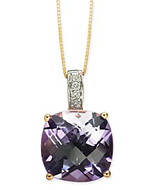 "Pink Amethyst (6-1/10 ct. t.w.) & Diamond (1/20 ct. t.w.) 18"" Pendant Necklace in 14k Rose Gold"