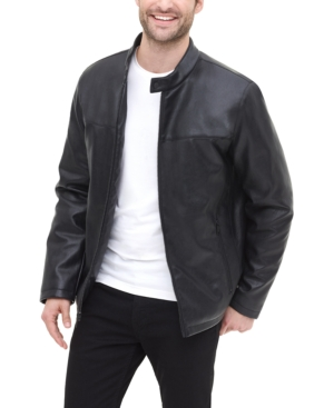 60s 70s Men's Jackets & Sweaters Dkny Mens Classic Faux Leather Stand Collar Racer Jacket $77.99 AT vintagedancer.com