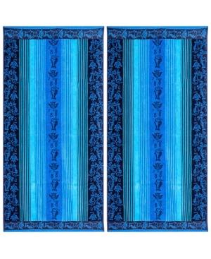 Image of American Dawn Oceanscape Double Velour Jacquard Beach Towel 2 Piece Set Bedding
