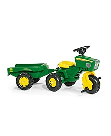 Toys John Deere 3 Wheel Trike Pedal Tractor with Removable Hauling Trailer
