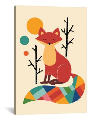 """Rainbow Fox by Andy Westface Wrapped Canvas Print - 26"""" x 18"""""""