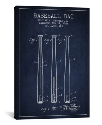 "Baseball Bat Navy Blue Patent Blueprint by Aged Pixel Wrapped Canvas Print - 40"" x 26"""
