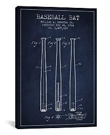 "iCanvas Baseball Bat Navy Blue Patent Blueprint by Aged Pixel Wrapped Canvas Print - 40"" x 26"""